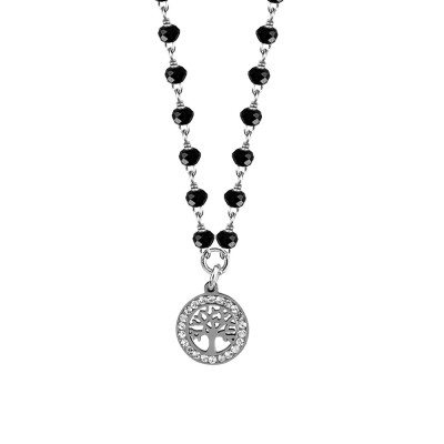 Necklace with black crystals and tree of life