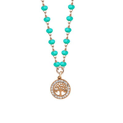 Rosé necklace with green water crystals and tree of life