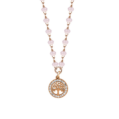 Rosé necklace with pink milk crystals and tree of life