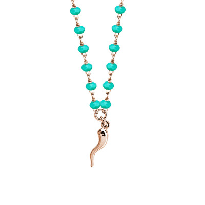 Rosé necklace with teal green crystals and lucky charm