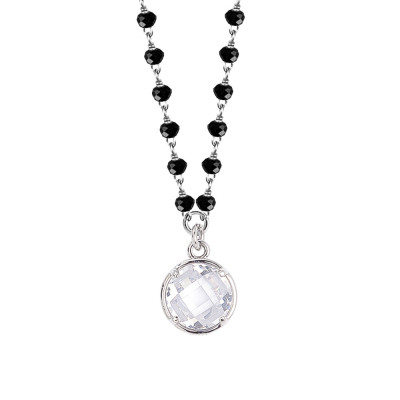 Necklace with black crystals and crystal crystal pendant