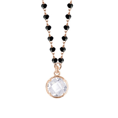 Rosé necklace with black crystals and crystal pendant