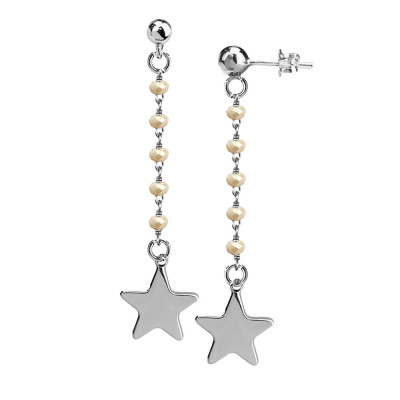 Earrings with beige crystals and final star