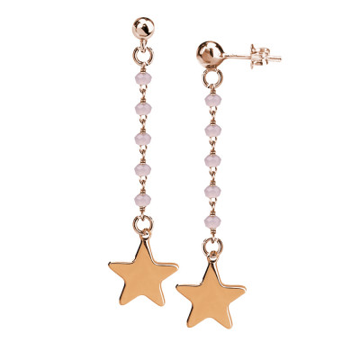 Earrings with pink milk crystals and final star