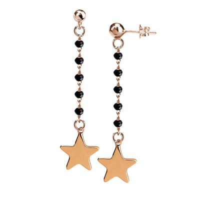 Earrings with black crystals and final star