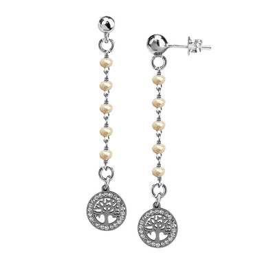 Earrings with beige crystals and tree of life