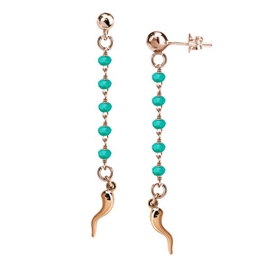 Rosé earrings with teal-green crystals and lucky charm