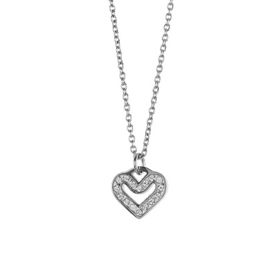 Necklace with heart and rhinestone pav