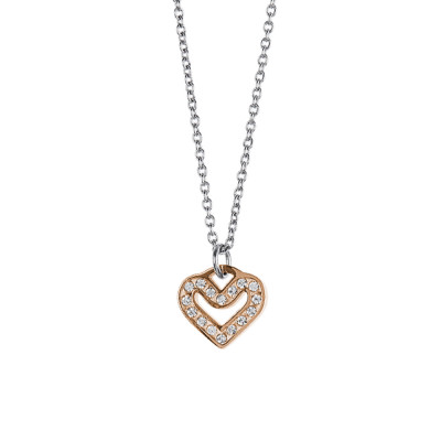 Necklace with pink heart and rhinestone pav