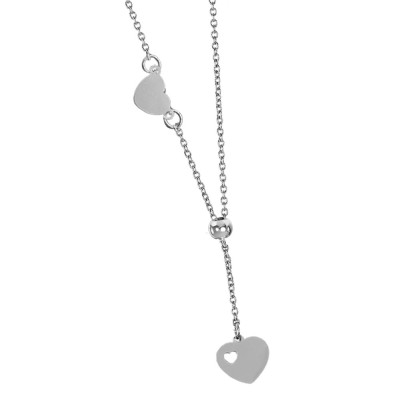 Necklace with side heart and bow tie pendant