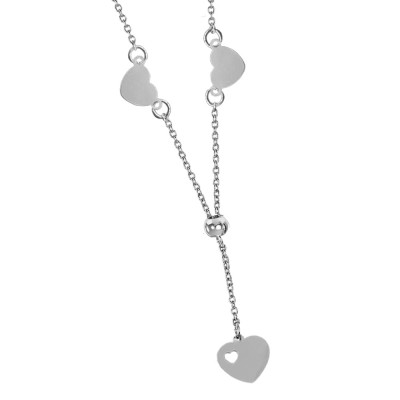 Necklace with side hearts and bow tie pendant