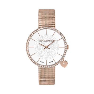 Rose gold watch with two-tone dial on two levels and side-heart charm