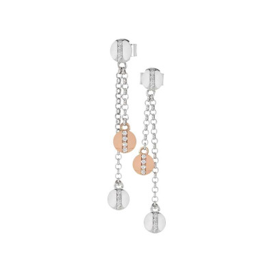 Earrings with two-tone double pendant