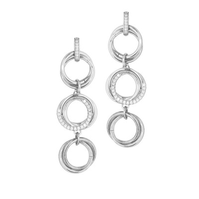 Dangle earrings with three groups of intertwined circles with zircons