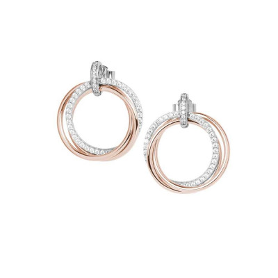 Hoop earrings in rose gold-plated silver with cubic zirconia