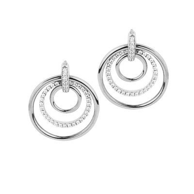 Earrings with concentric circles and zircons