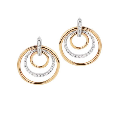 Pink gold plated earrings with concentric circles and zircons