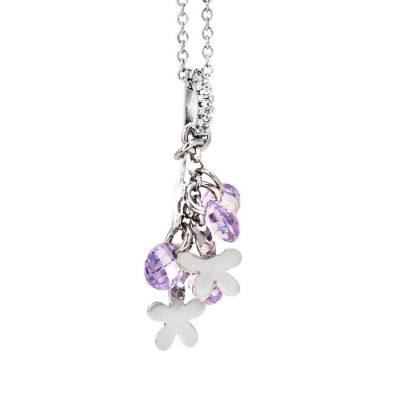 Necklace in silver with rodiati charms and zircons lavender