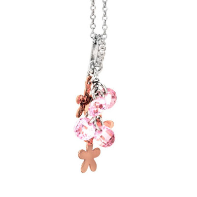 Necklace in silver with charms rose and rose zircons