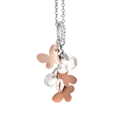 Necklace in silver with charms rose and white zircons