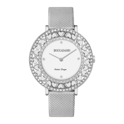Silver watch with white dial, Swarovski and hearts