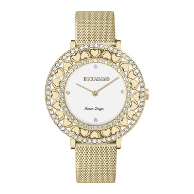 Gold watch with white dial, Swarovski and hearts