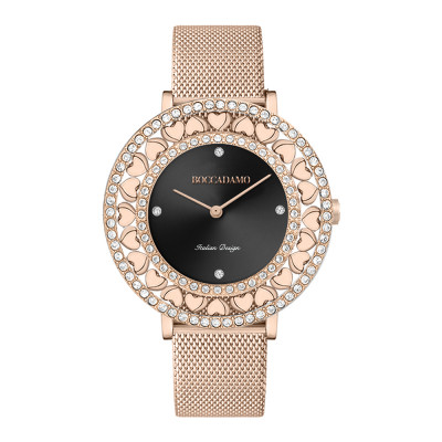 Rose gold watch with black dial, Swarovski and hearts