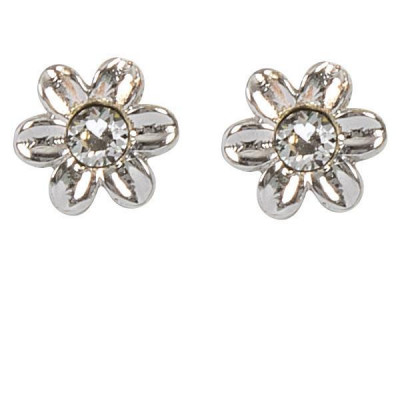 Earrings in the lobe with flower and crystal Swarovski crystal