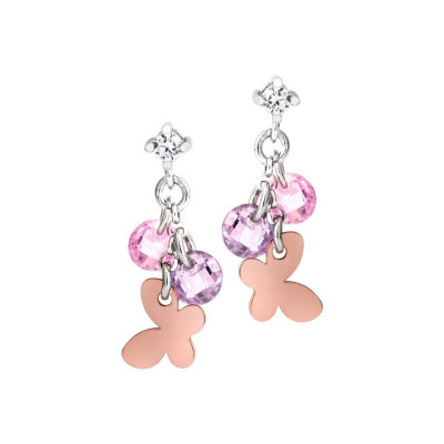 Silver earrings with charms and zircons rose and lavender
