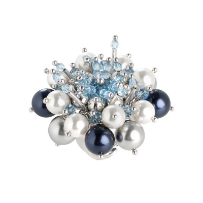 Ring with Flower composed of crystals aquamarine and Swarovski beads from blue tones