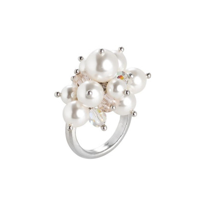 Ring with a bouquet of crystals and Swarovski beads silk, aurora borealis and white
