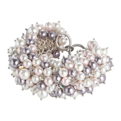 Bracelet with composition of pearls and crystals Swarovski aurora borealis, mauve, Rosaline and white