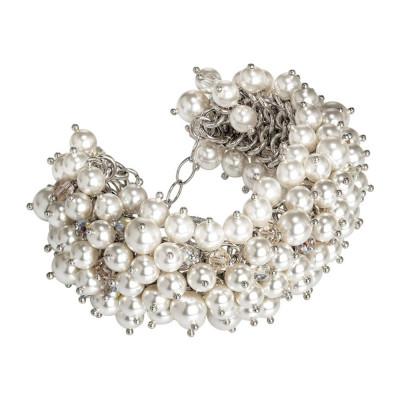 Bracelet with composition of Swarovski beads white and crystals Swarovski aurora borealis