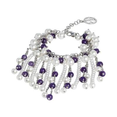Bracelet with amethyst and Swarovski beads white