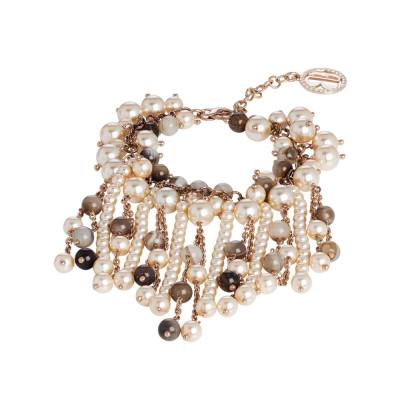 Bracelet with stones mix brown and Swarovski beads peach