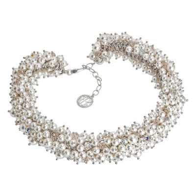 Necklace with composition of pearls and crystals swarovski white