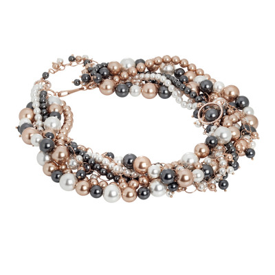 Multi-strand rose necklace with Swarovski pearls and zircons