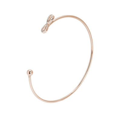 Open rigid bracelet with a symbol of pink infinity