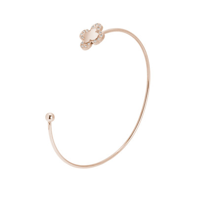 Open rigid bracelet with pink four-leaf clover