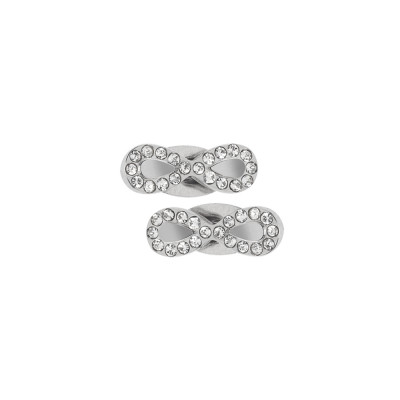 Rhodium-plated lobe earrings with infinity symbol