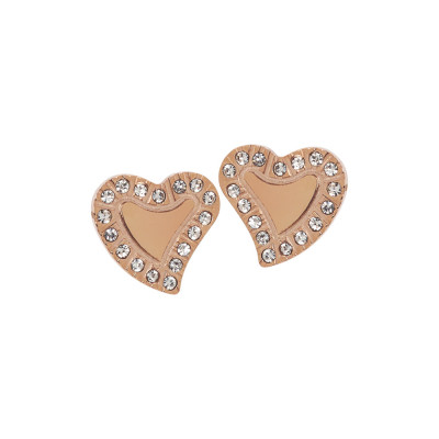 Pink lobe earrings with heart
