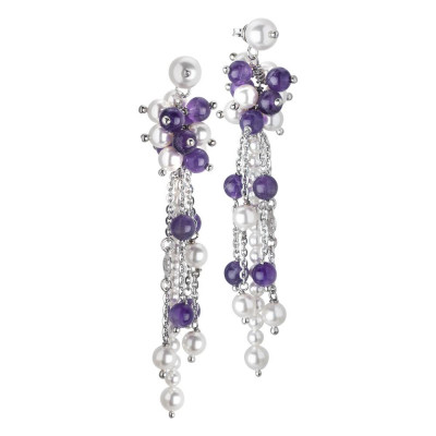 Earrings Pendant with a sprig of Swarovski beads white and amethyst