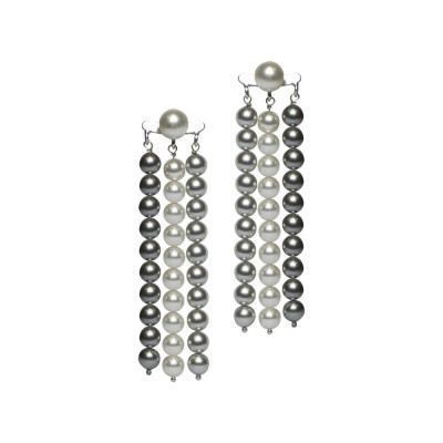 Earrings with strings of pearls Swarovski gray and light gray