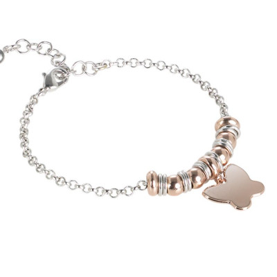 Bracelet bicolor with butterfly pendant gold plated pink