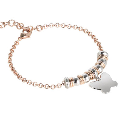 Bracelet bicolor with butterfly pendant rhodium plated