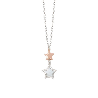 Necklace with pendant of stars in mother of pearl and zircons