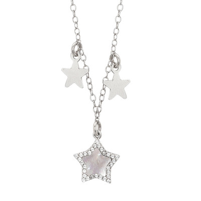 Necklace with central star in mother of pearl and zircons