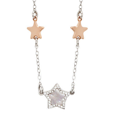 Necklace with rose gold plated stars, mother of pearl and zircons