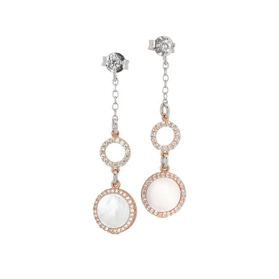 Drop earrings with circles of zircons and mother of pearl