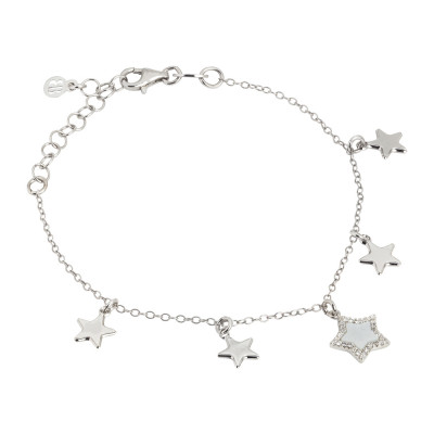Bracelet with hanging stars, mother of pearl and zircons